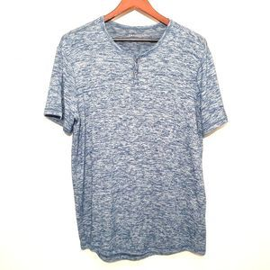 Express heathered blue short sleeve henley shirt